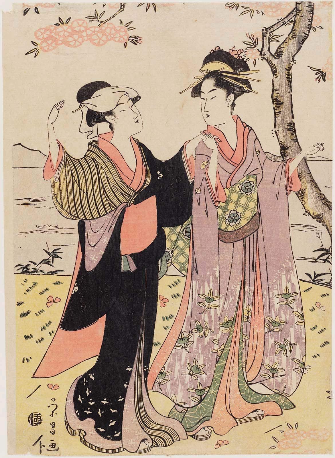 exemple de furisode en estampe japonaise