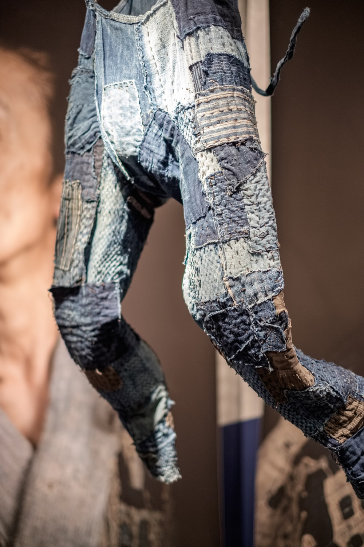 japanese farmer hakama pants boro indigo patchwork