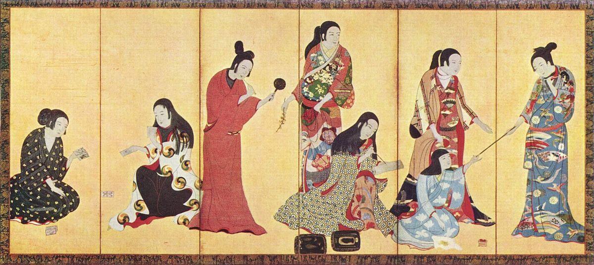 kimono-kosode-estampe-japonaise-dix-septième siècle d'Iwasa Matabei