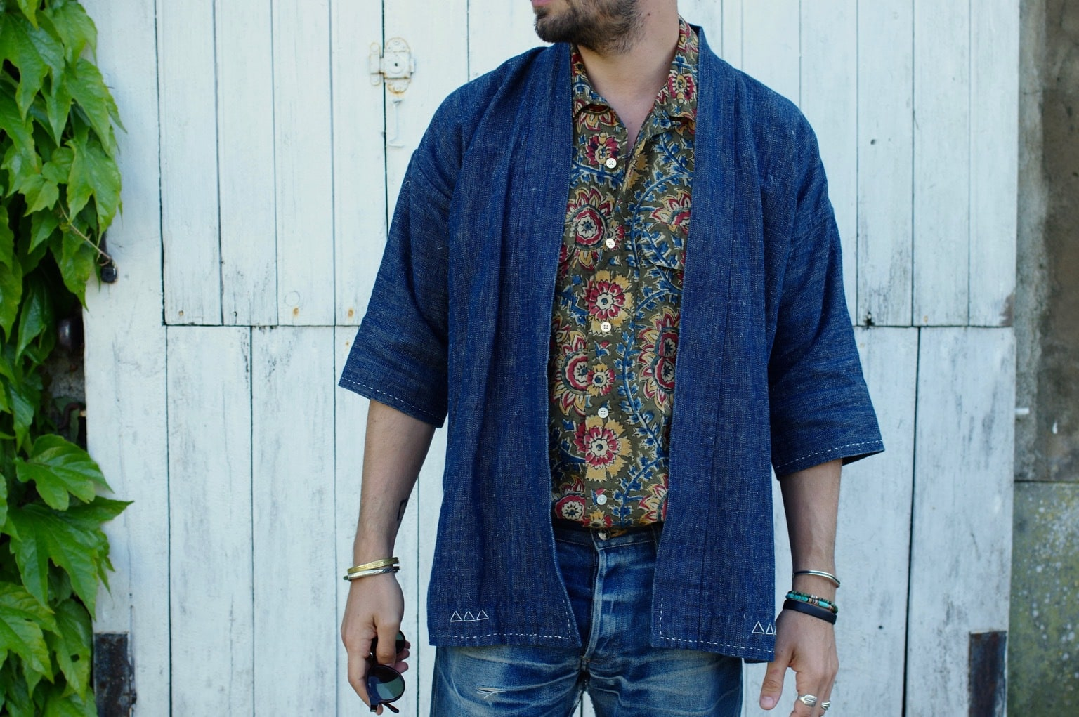 visvim sanjuro jacket + beam plus floral cuban shirt