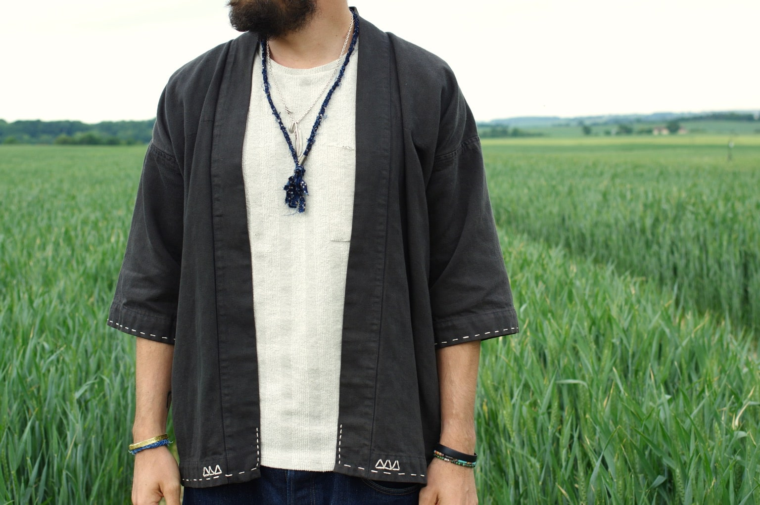 visvim black sanjuro jacket - veste noragi
