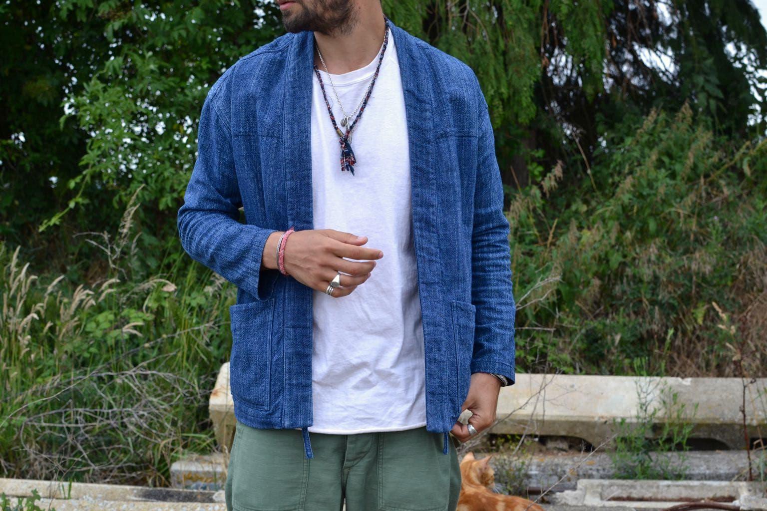 veste noragi Borali avec colier en tissus recyclés pour homme et plume en argent first arrows