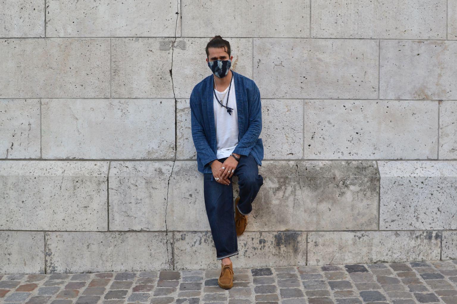 conseil style homme - porter une noragi Borali en coton artisanale japonais avec un jean tapered et des clarks wallabee