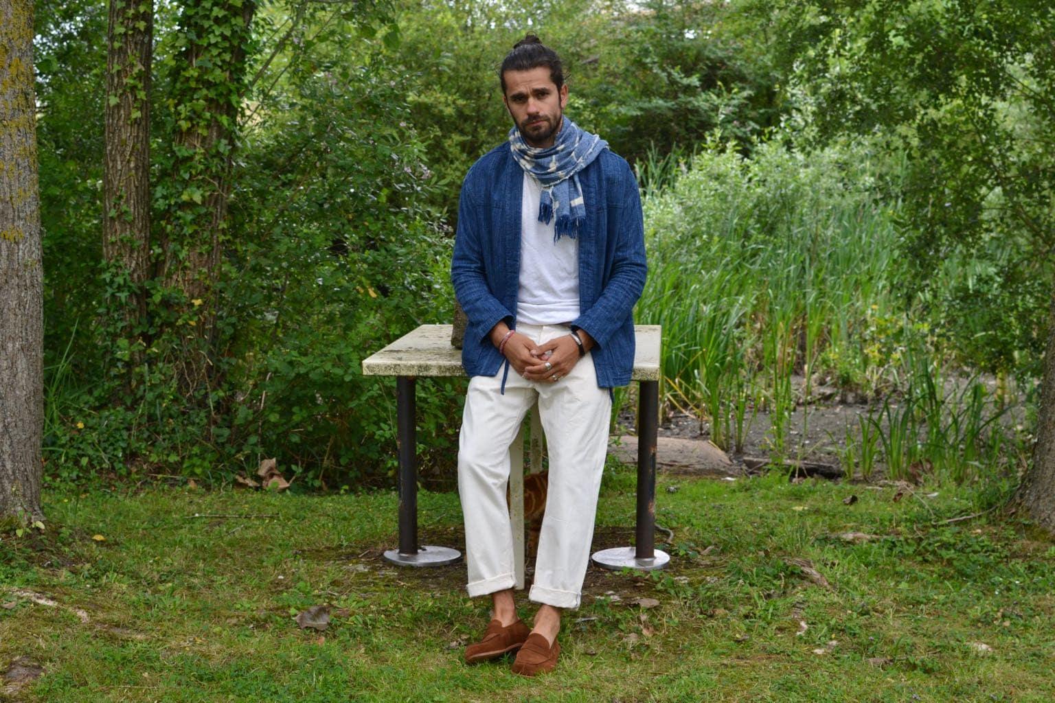noragi borali x bonne gueule - comment porter le jean blanc et les mocassin penny laofer Malfroid shoes