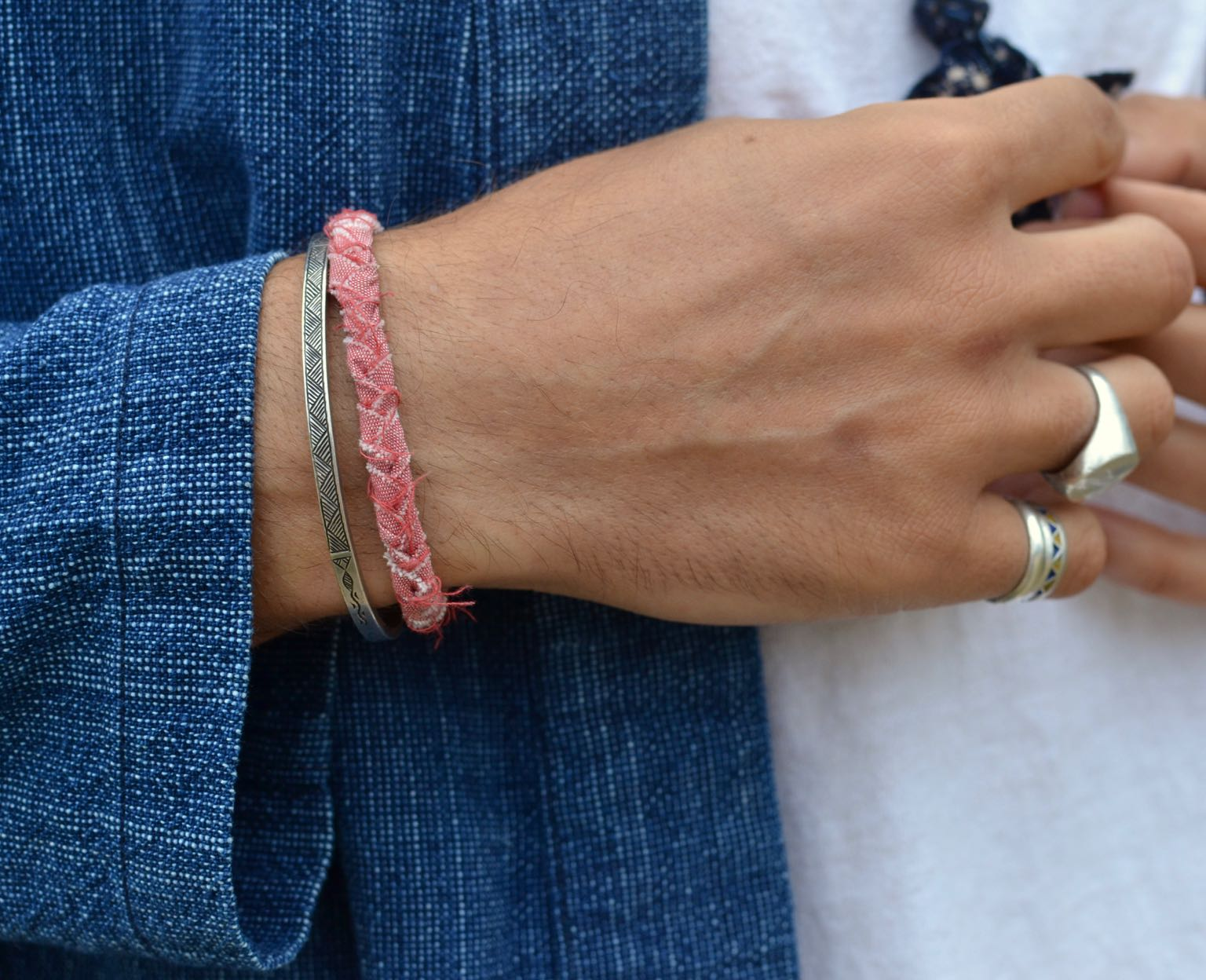 bracelet Borali en chambray rose - tissu recyclé et tressé à a main made in France