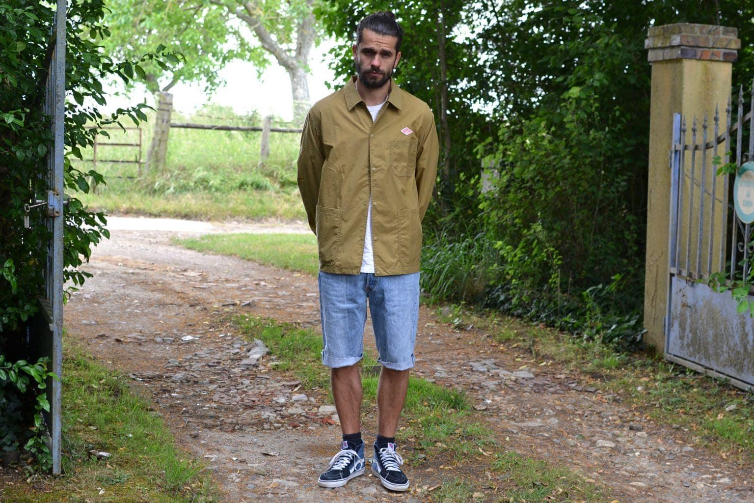 Danton marque workwear française et nylon taffeta jacket look homme