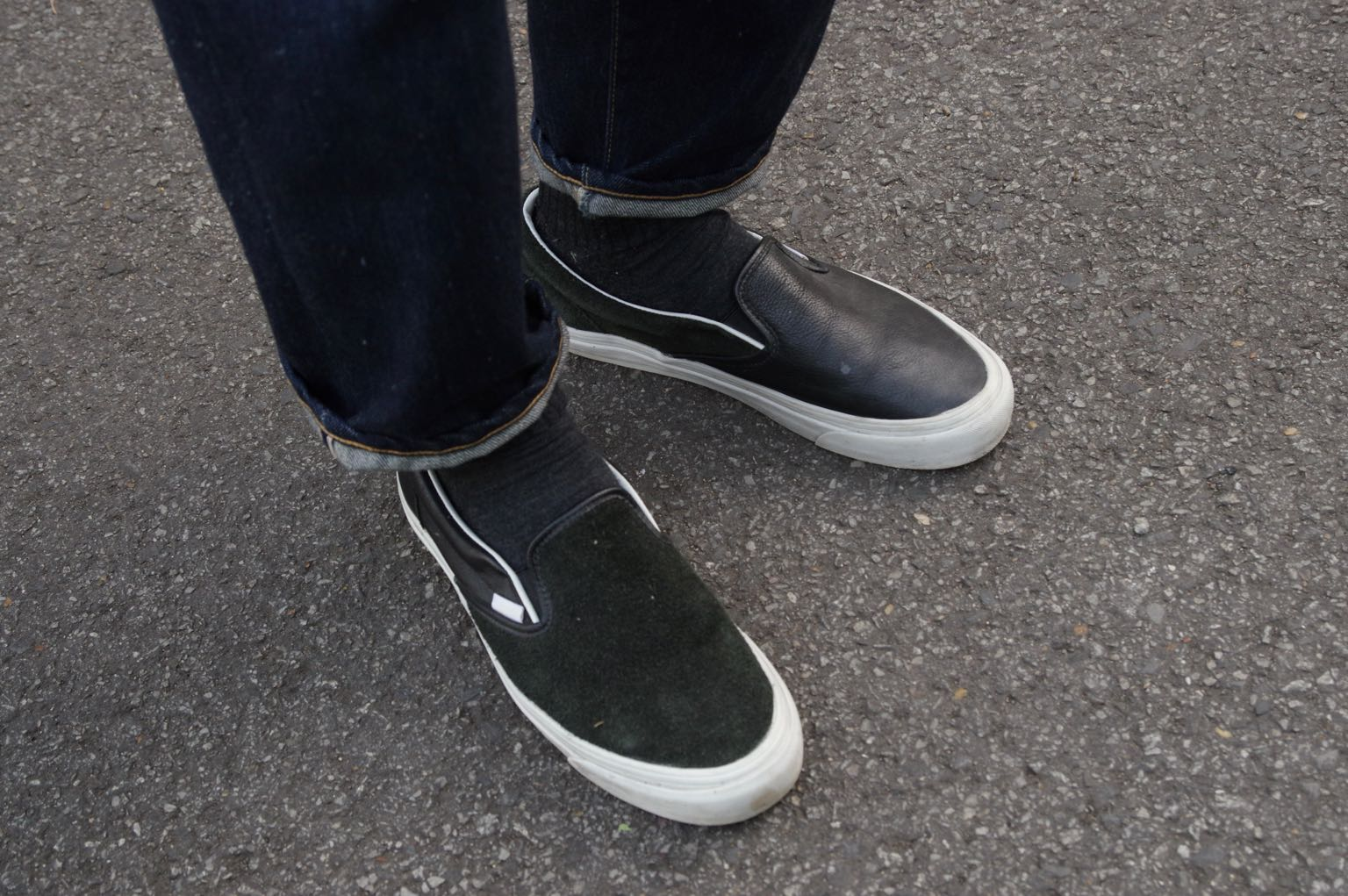 vans x engineered garments black leather mix slip-on