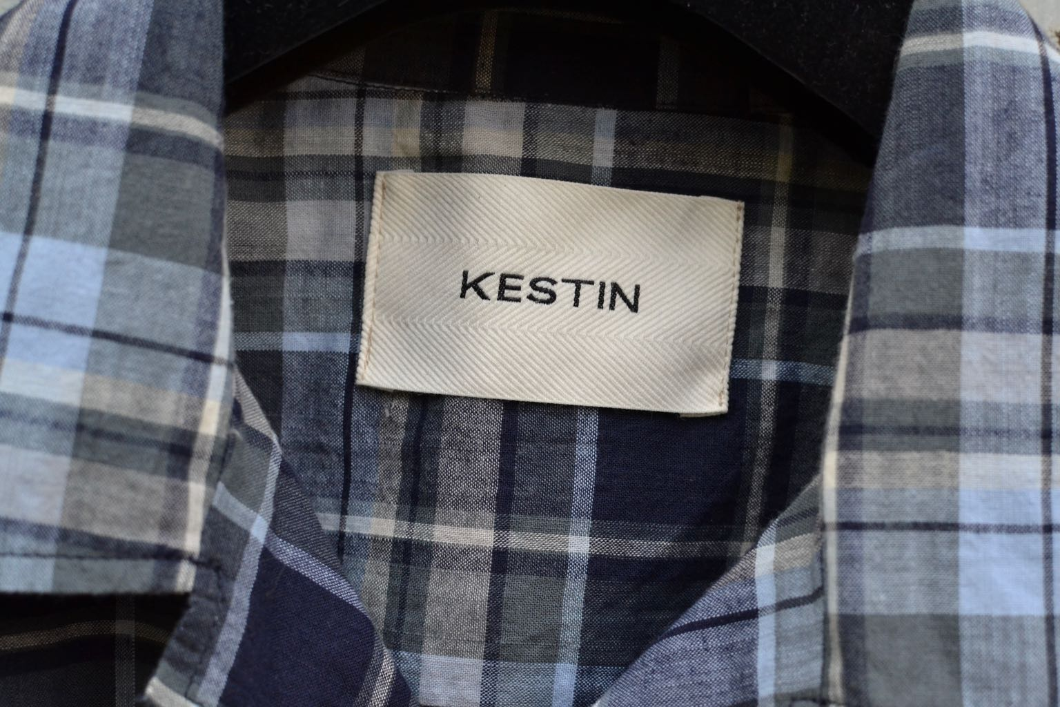 Kestin-hare-Tain shirt in indigo - blue slate check - 1