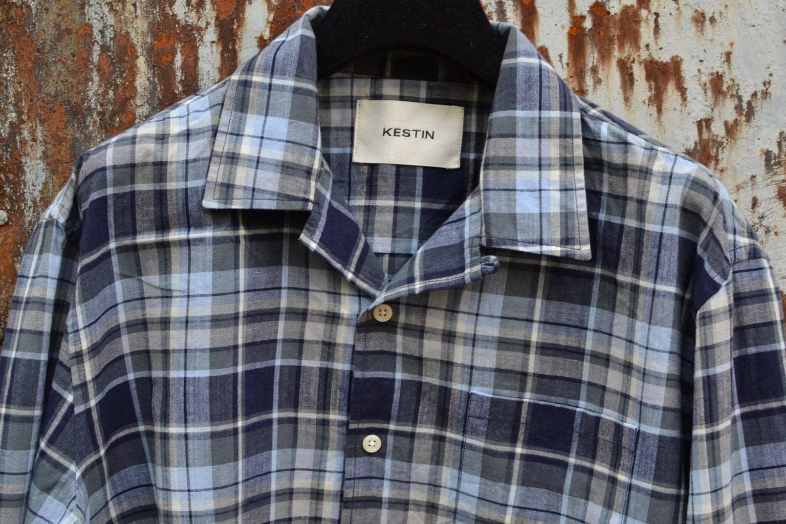 Kestin-hare-Tain shirt in indigo - blue slate check - 1