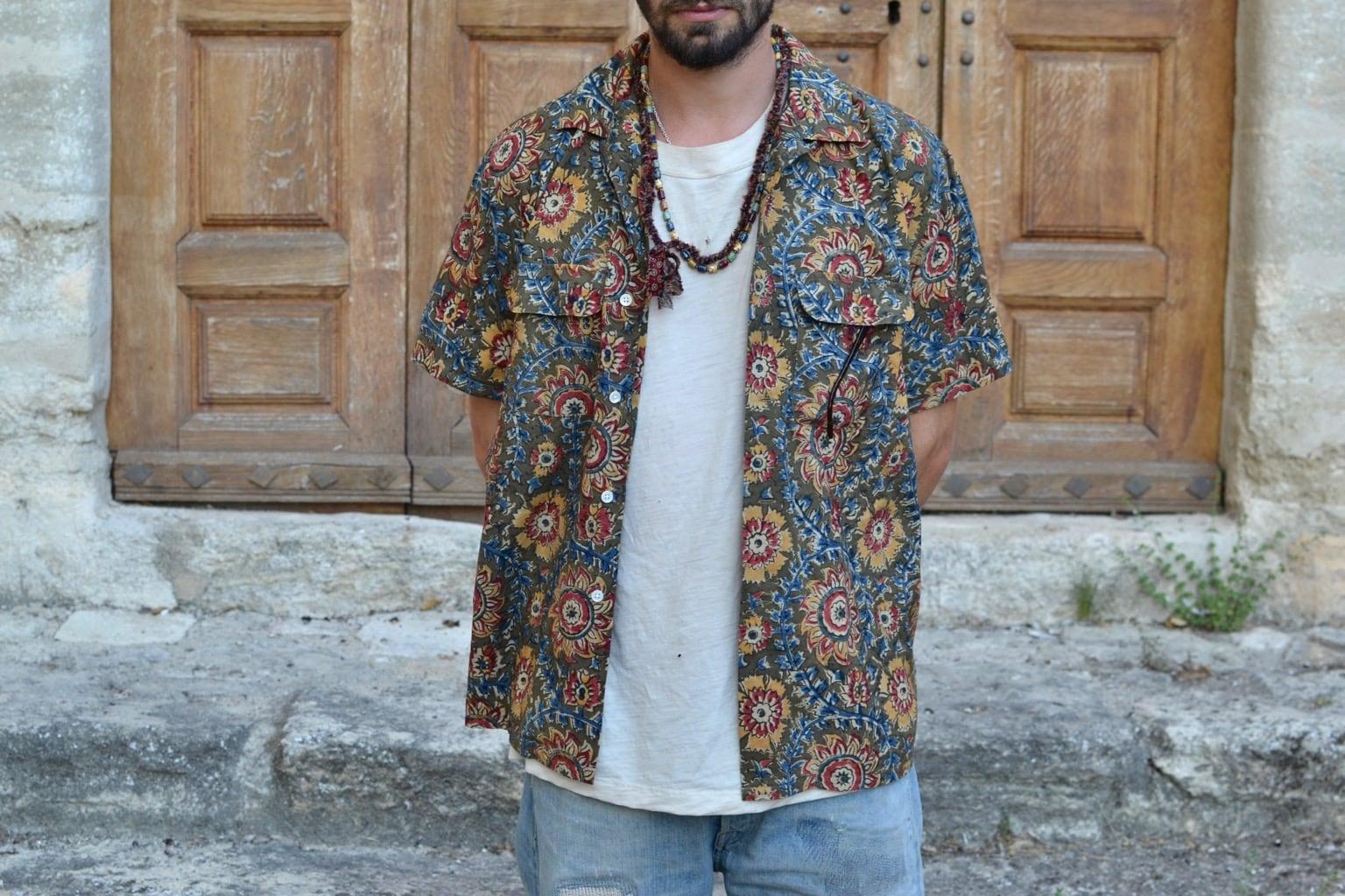 short sleeve shirt from beams plus campa collar batik shirt