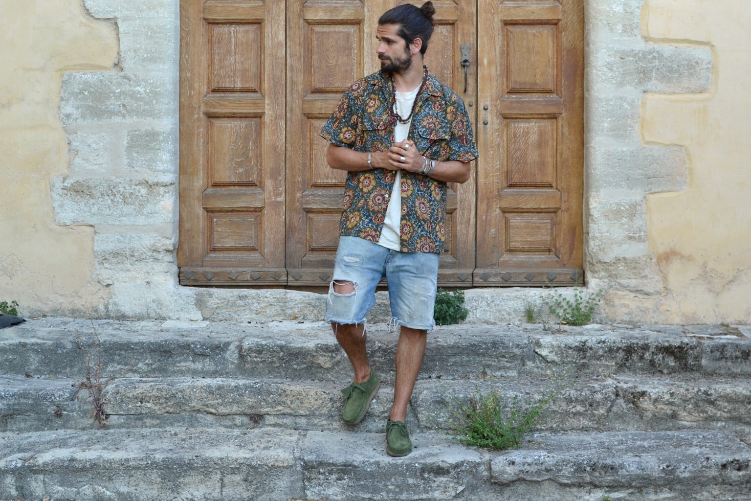 beams plus open collar batik shirt clarks wallabees short en denim comment porter clarks wallabee