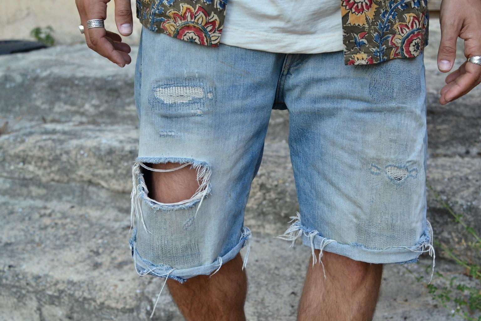 comment porter un short bermuda en jean en été dans un style workwear levi's vintage clothing 501 big E