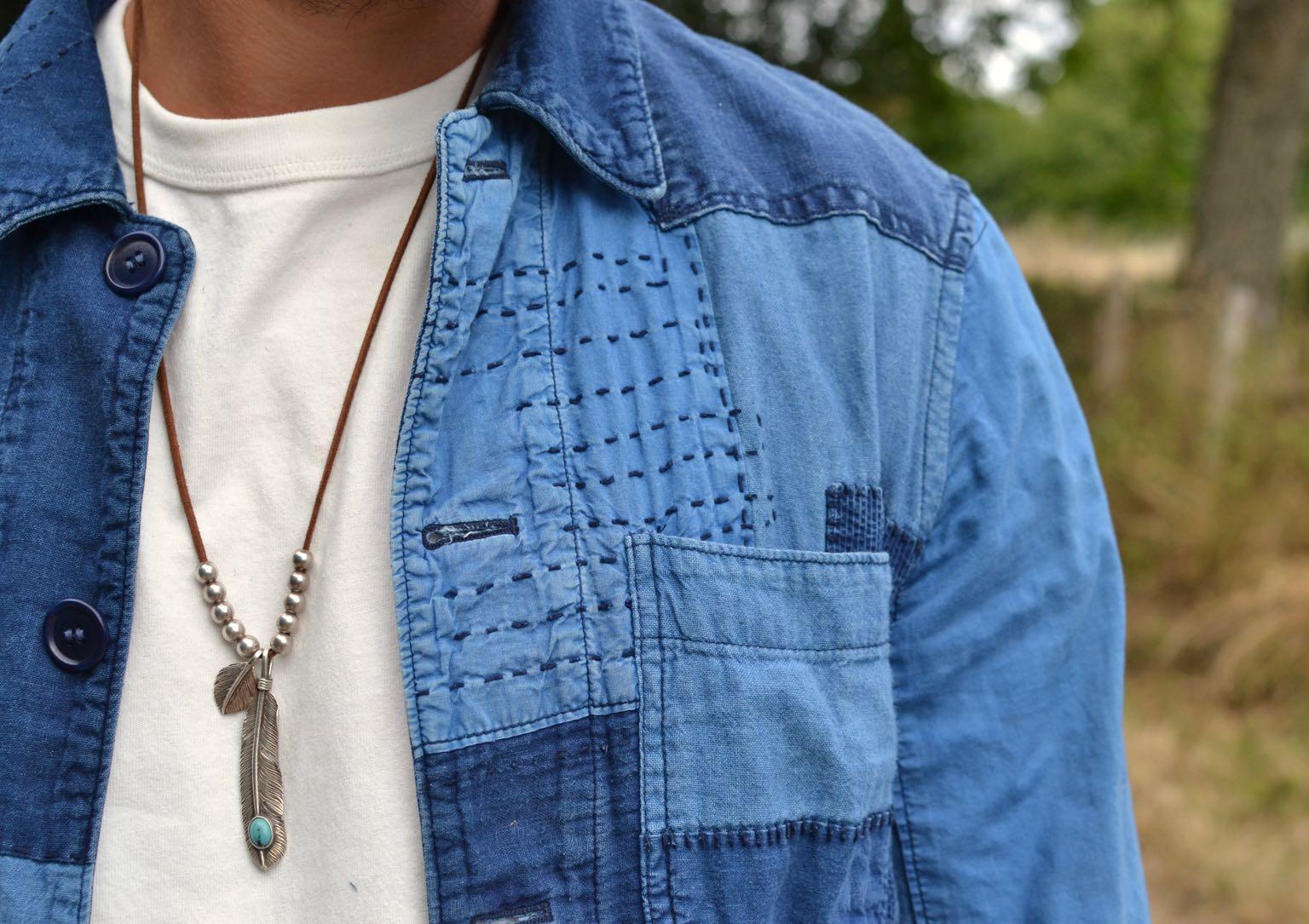 work jacket veste de travail blue blue japan patchwork boro japonais et indigo naturel et first arrow feather silver plume argent bijoux homme