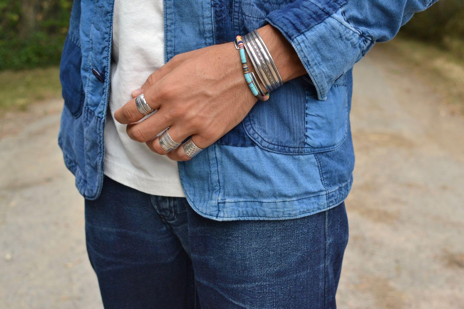 bracelet en argent ethnique pour homme homme et en plastic JInji - idée bague homme