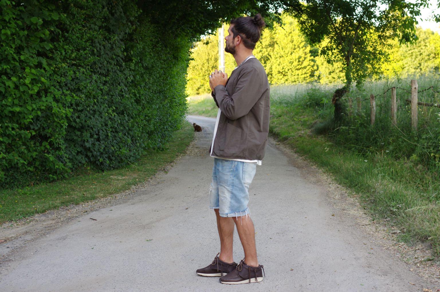 conseil style homme été avec tenue street heritage workwear surchemise militaire Kestin neist et short en jean levi's 501