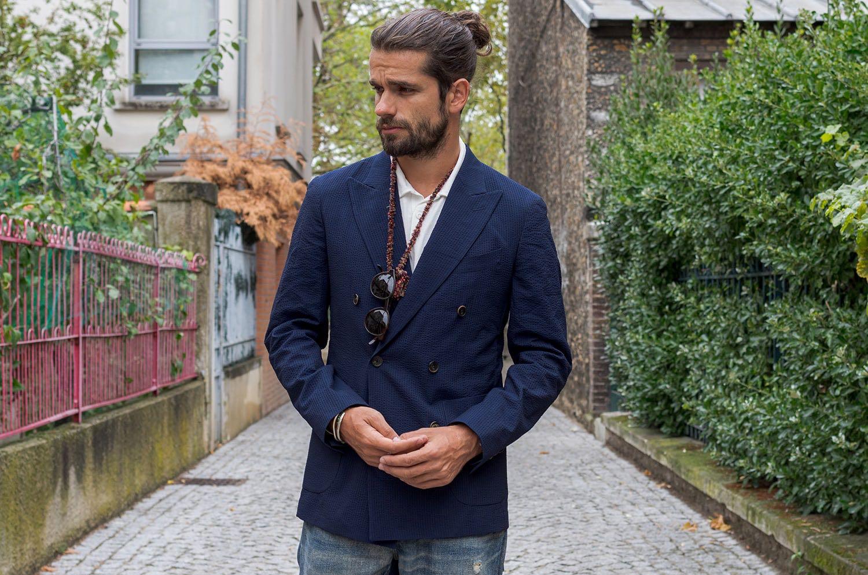 inspiration tenue blazer croisé bonne gueule et jeans délavé et moccassin yuketen