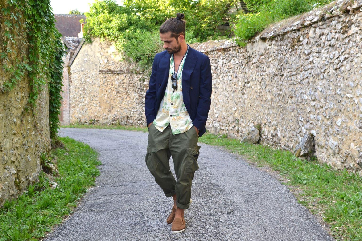 blazer croisé seersucjer bonnegueule et orslow cargo pants easy chemisette à motif