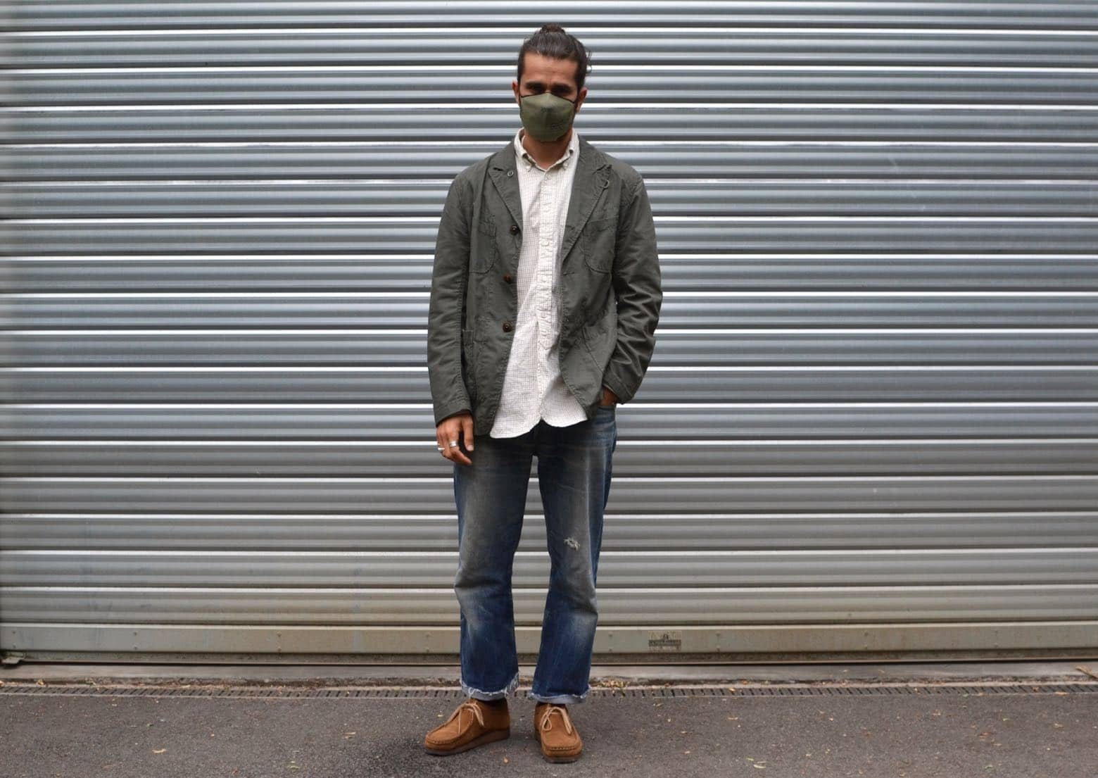 engineered garments bedford ripstop jacket 1ST Pat-rn knit double layer mask - clarks wallabee cola