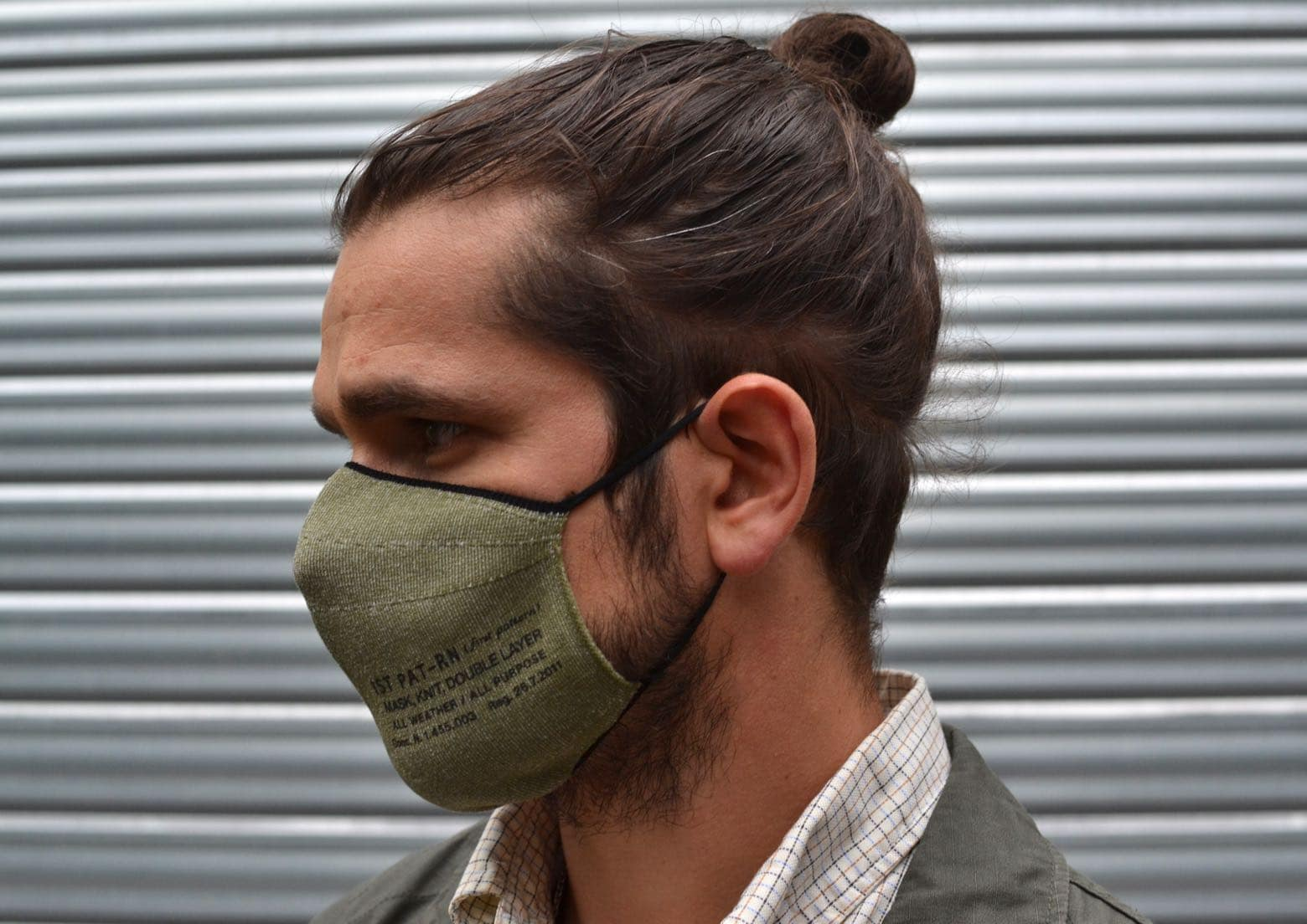 1st pat-rn knit double layer mask & engineered garments bedford jacket ripstop conseil style homme porter un masque