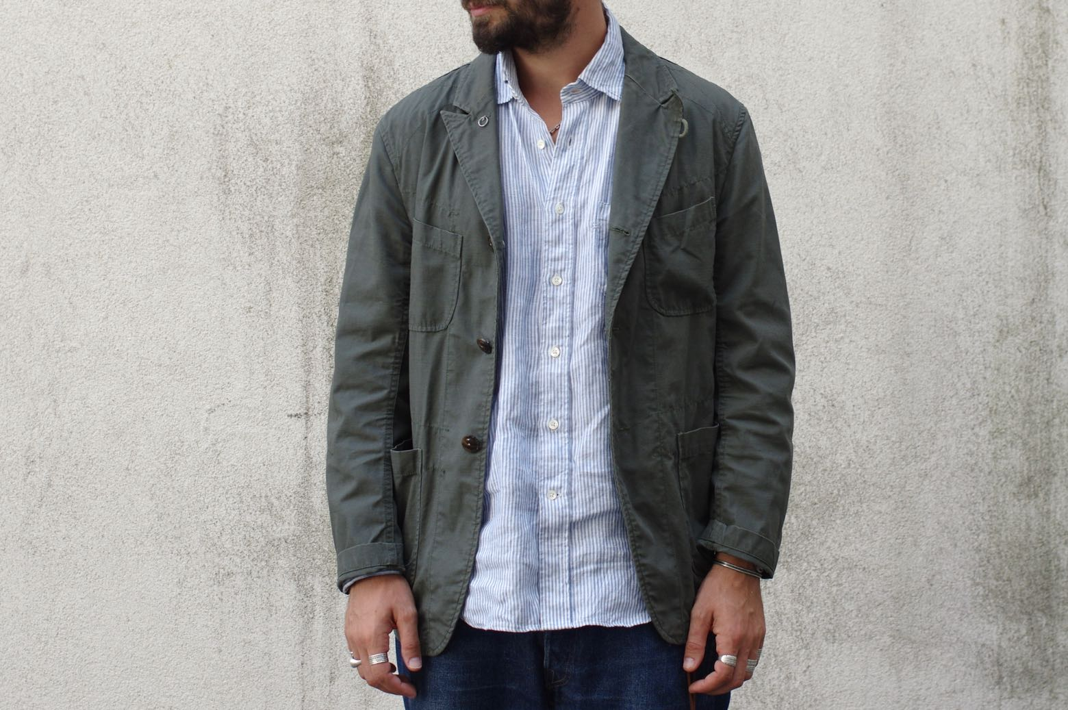 Engineered Garments olive cotton ripstop bedford jacket - 100% linen oxford shirt 45r
