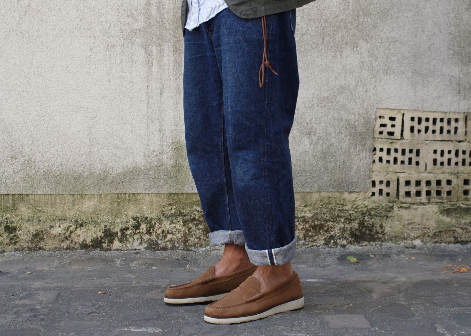 Warehouse First Arrow's Lot 015 Straight Jeans - universal works x G.H Bass wedge arson loafers