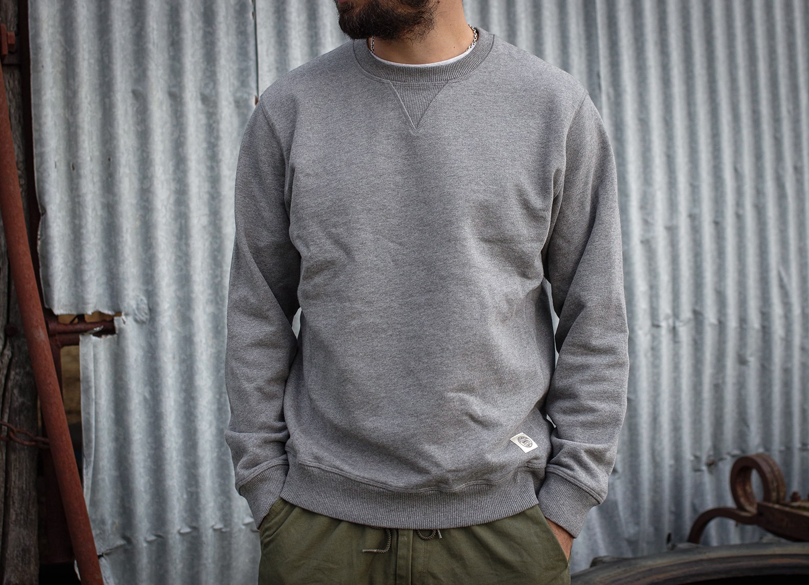 sweat gris style vintage militaire homme admiral