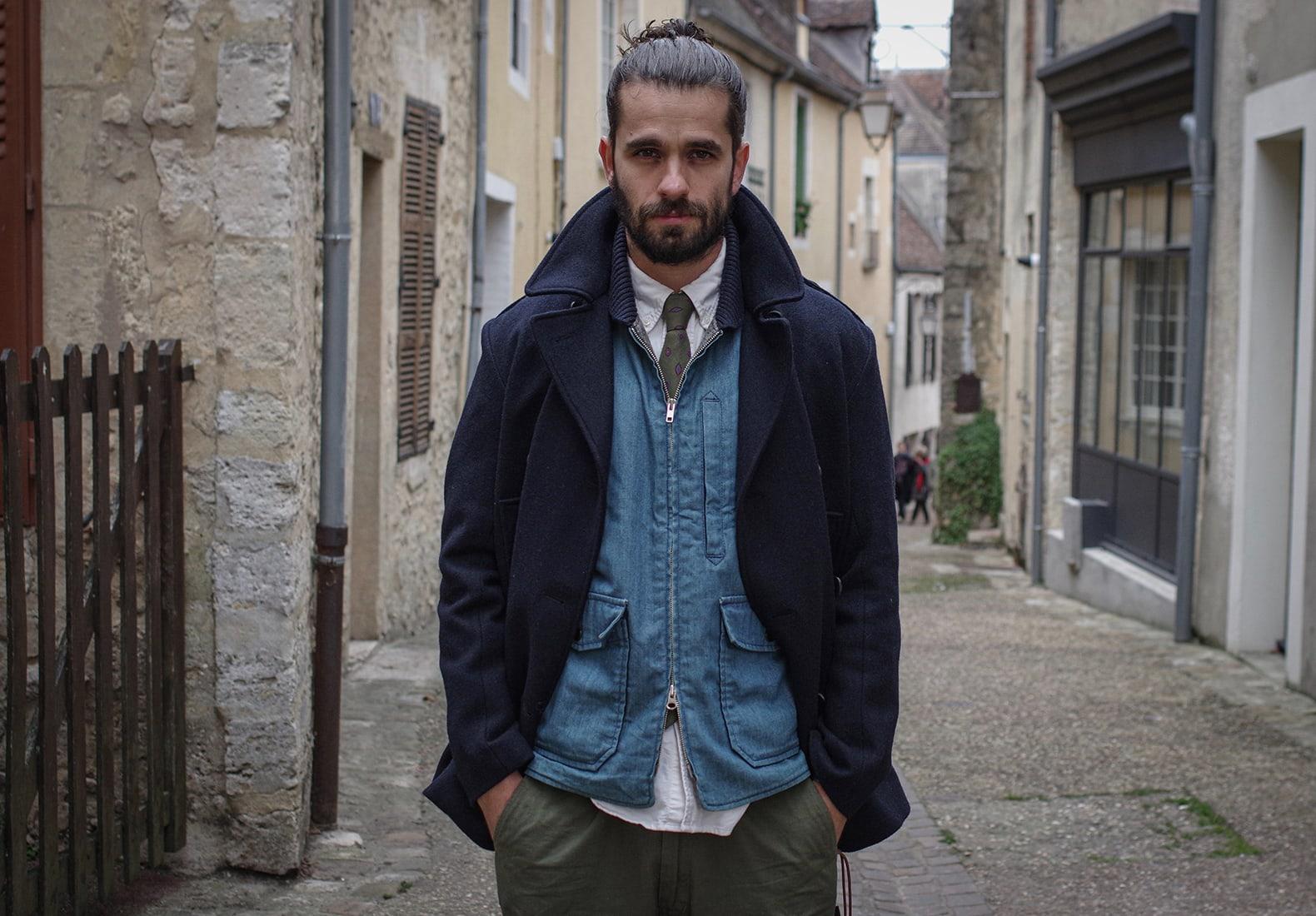 caban bleu homme frenchaholic et gilet engineered garments cravate laeyring