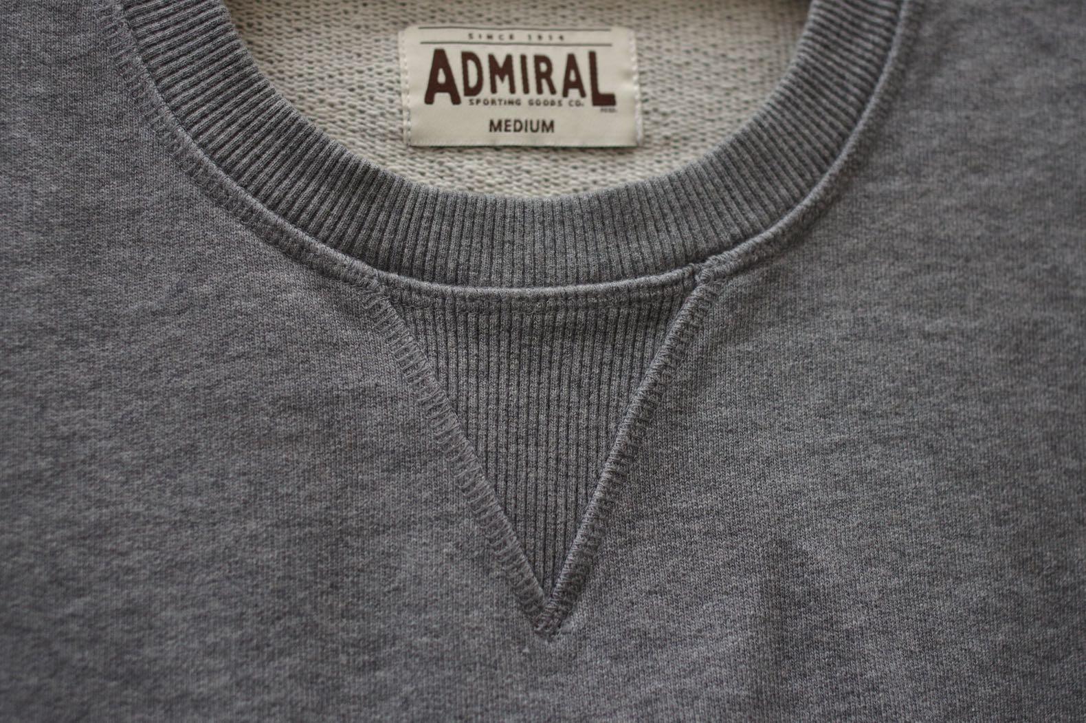 sweat gris esprit vintage sport militaire admiral