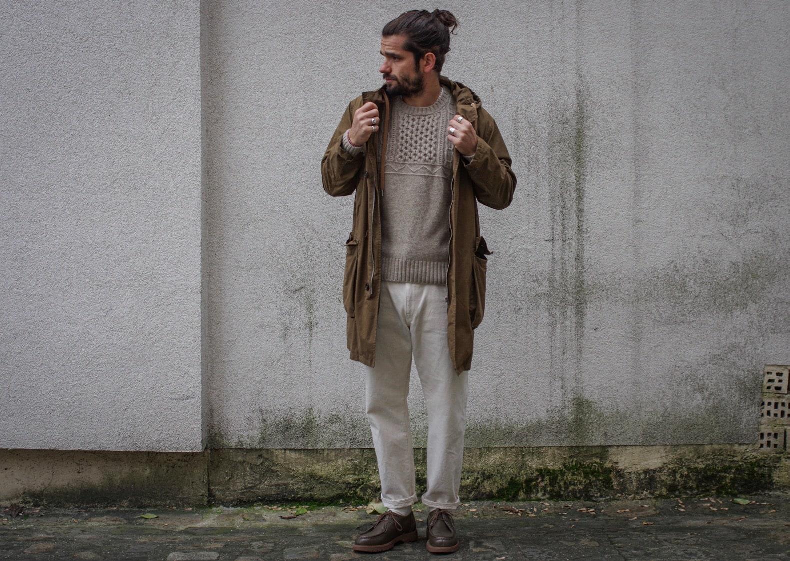 idée de tenue homme et vêtements à porter en automne parka et pull laine