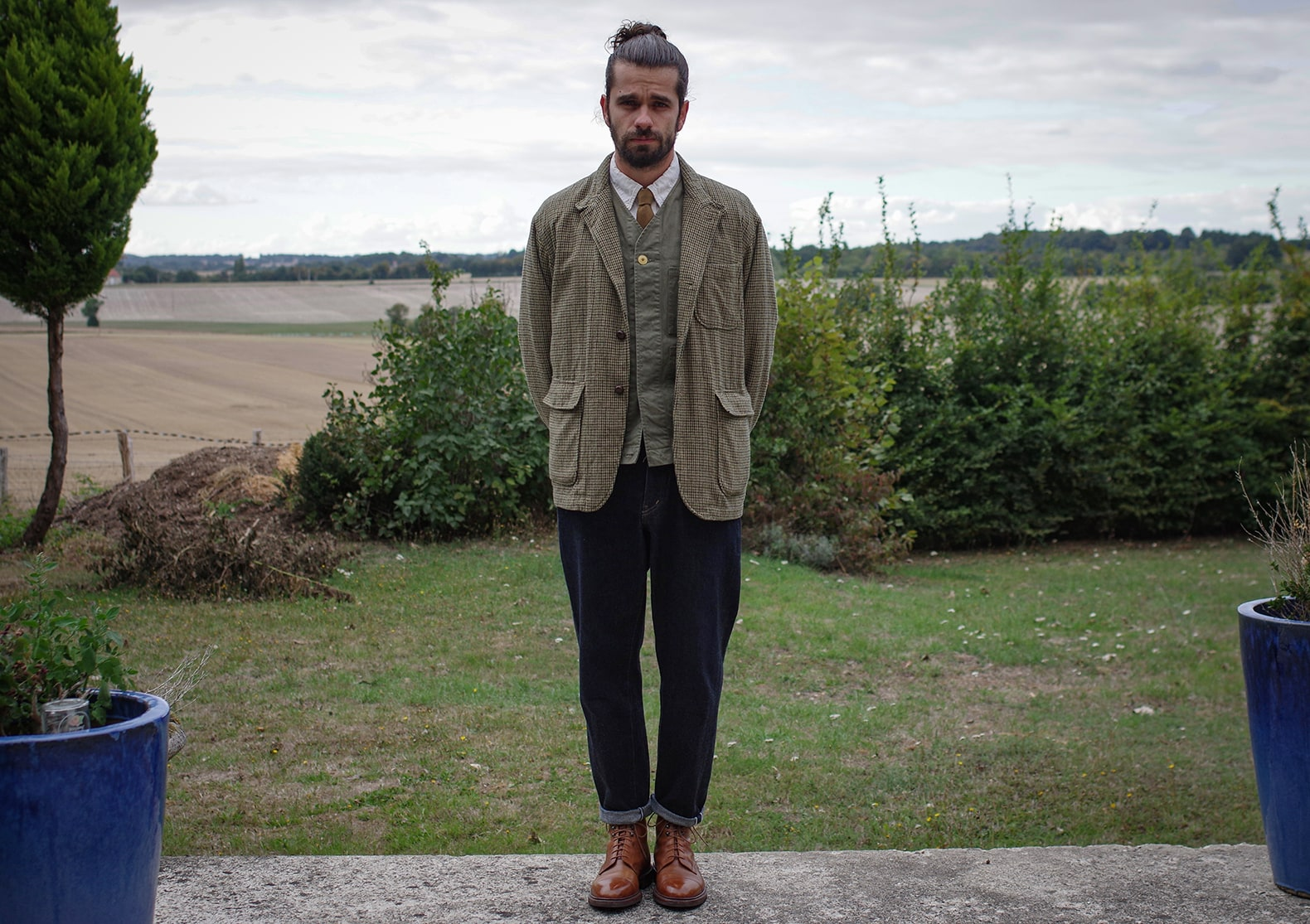 comment porter une veste pied de poule homme / tenue en coniston crockett & jones