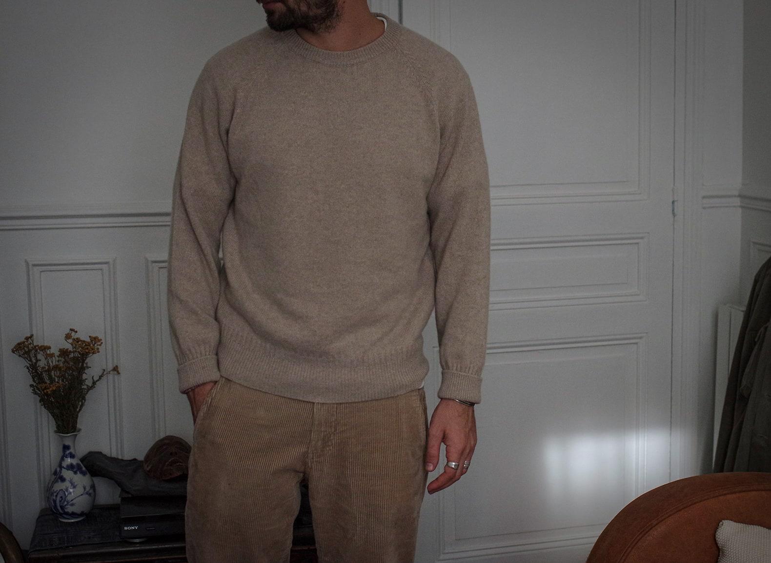 pull en cachemire recyclé tricot