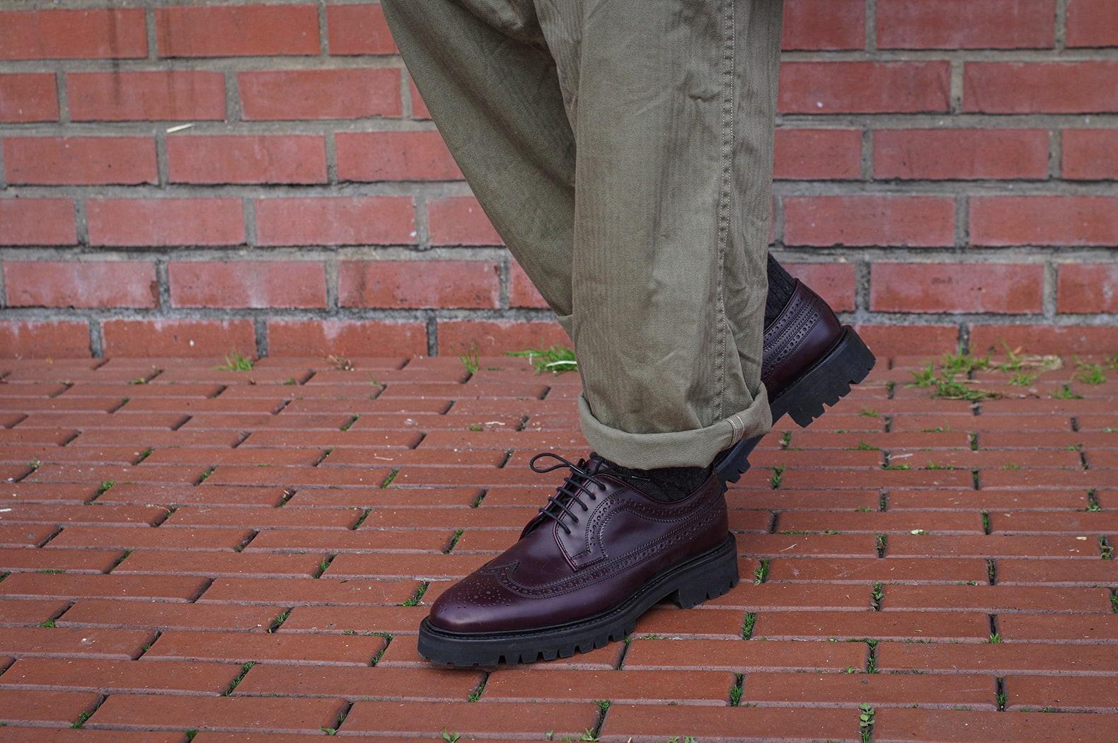 derby brogues maxe sauveur style cordovan longwing color #8 et pantalon cargo militaire style vintage