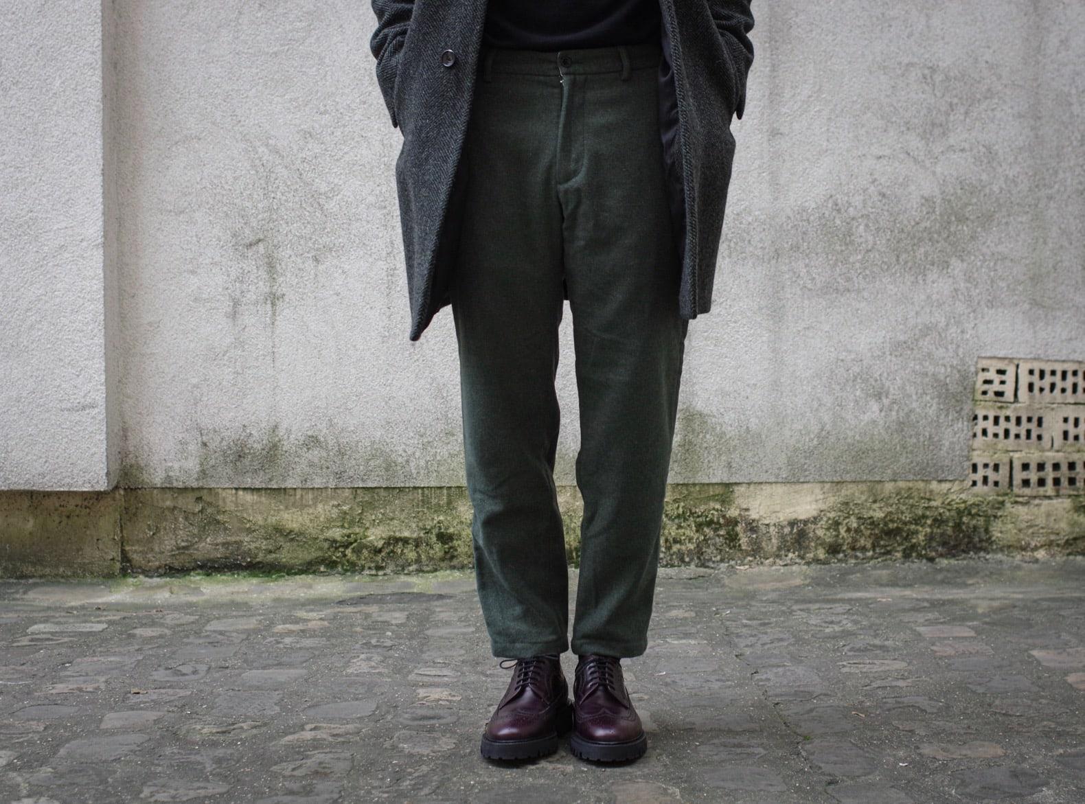 pantalon en laine Gant tapered + brogue couleur cordovan Max Sauveur x Luca laccio