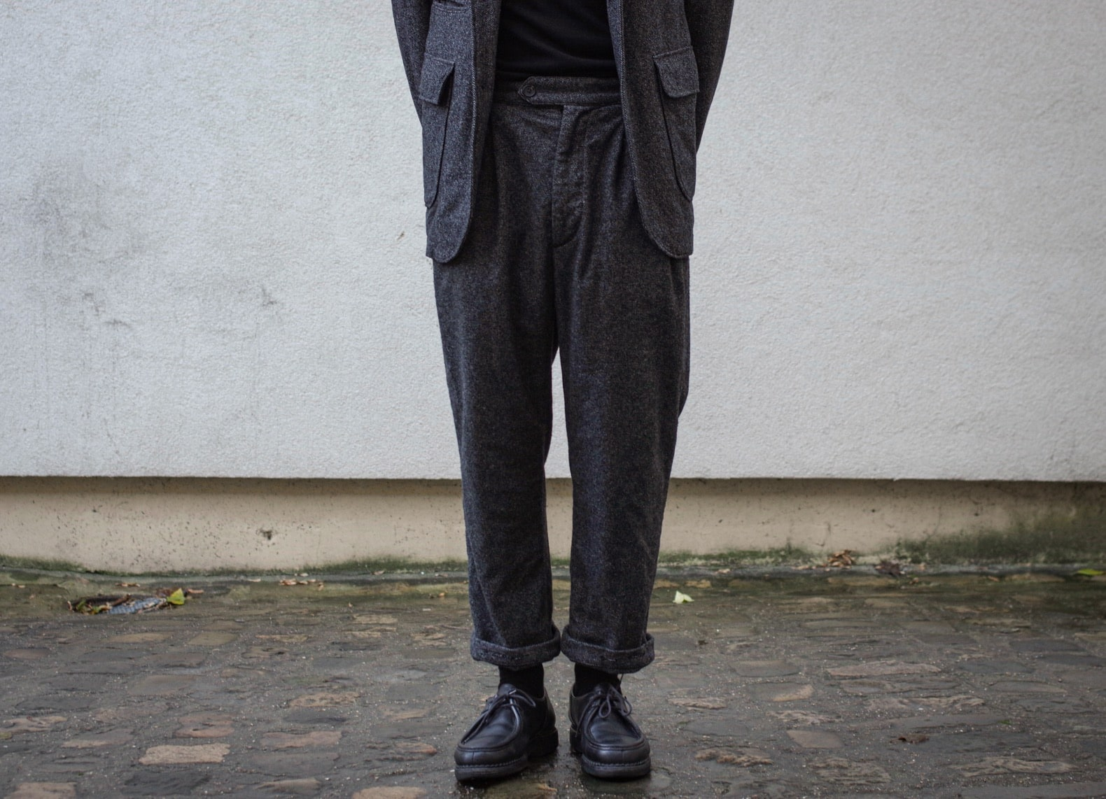 pantalon à taille haute homme en laine tweed homespun