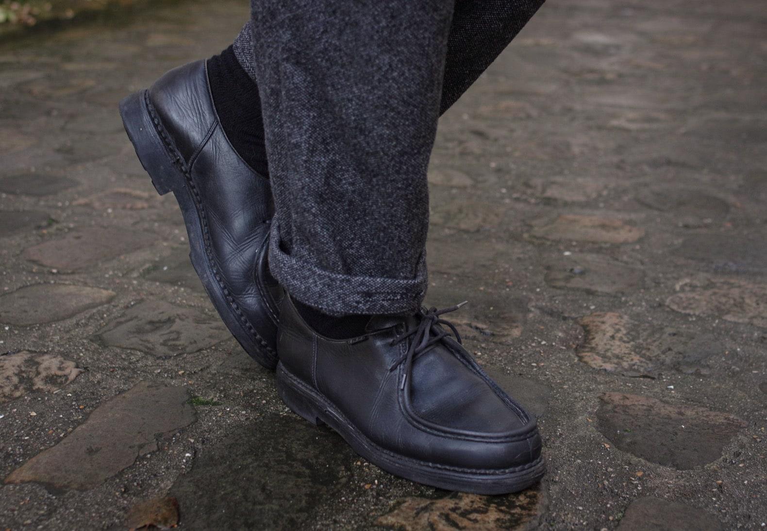 paraboot michael noir et pantalon en laine