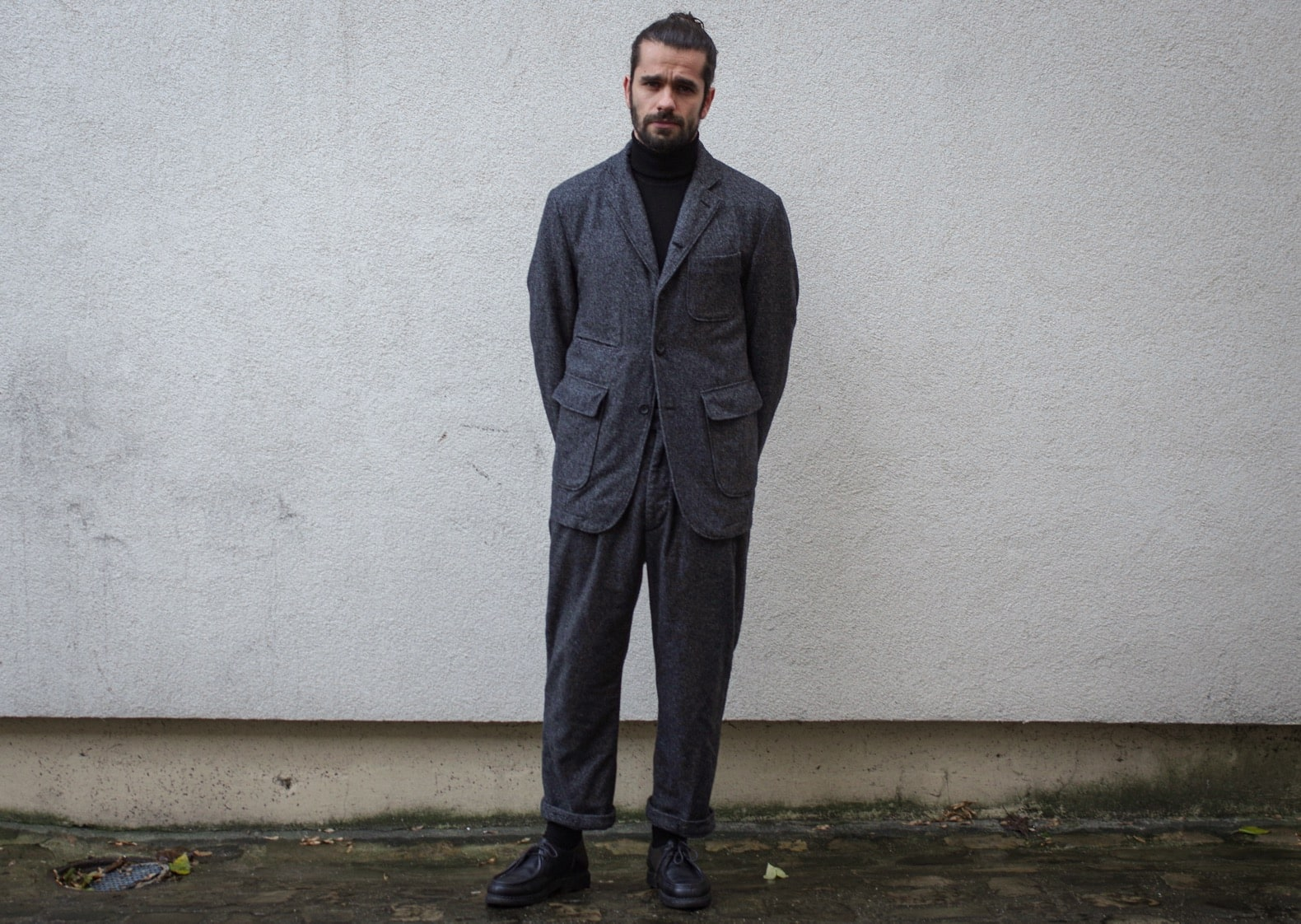 costume en laine épaisse hiver homme homespun engineered gamrents emerson pants baker jacket suite paraboot michale black