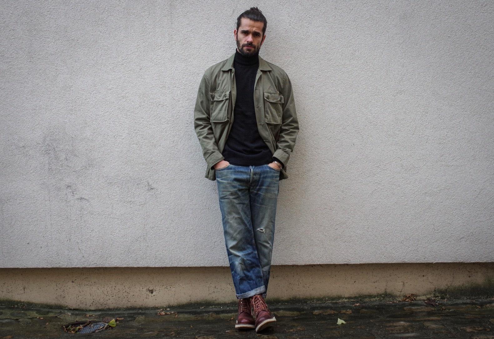 look homme serpico style workwear veste militaire vintage et col roué noir pull