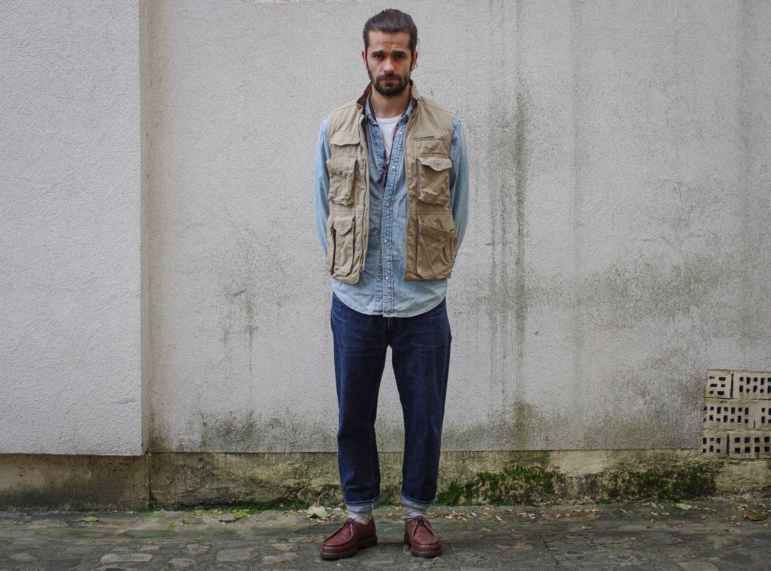 porter un gilet sans manche workwear style homme