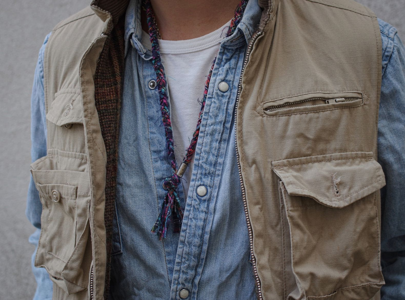 engineered garments photographer vest denim shirt levi's ) Borali handmade necklace