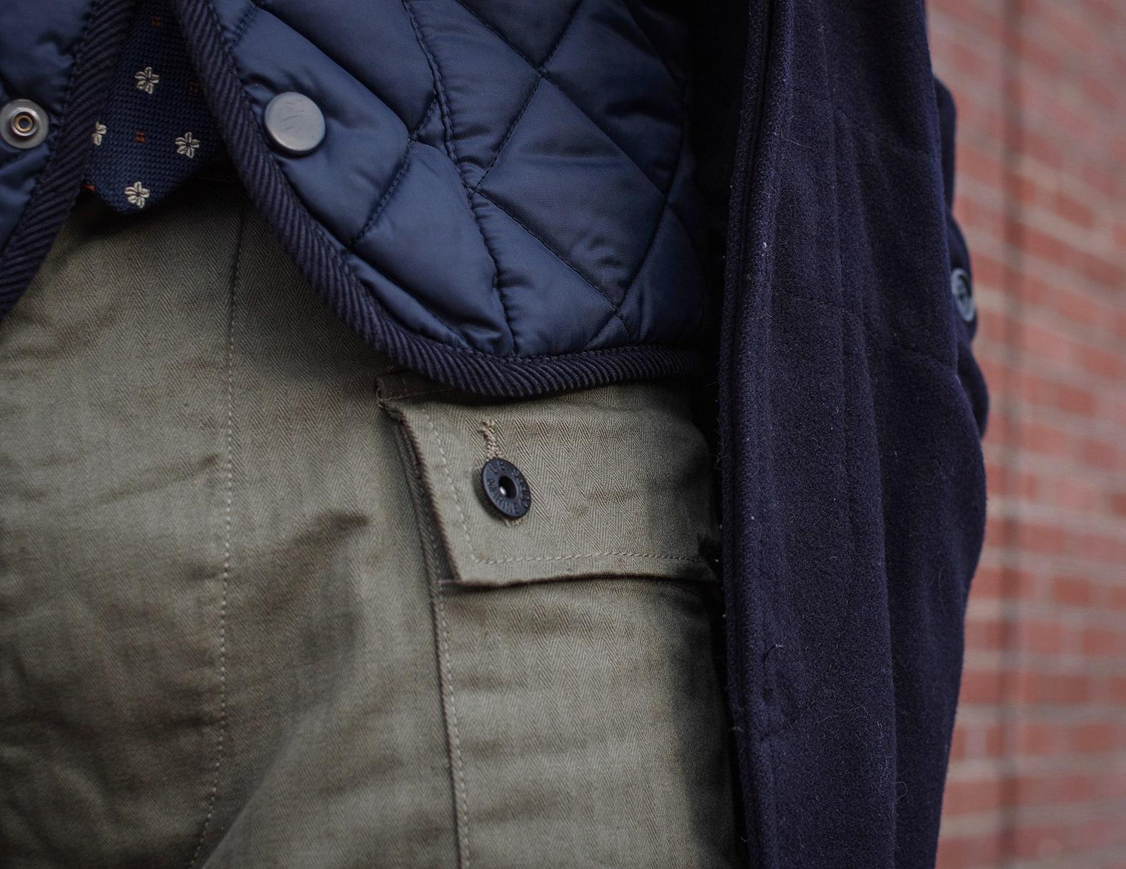 détail jeu de matière tenue homme workwear