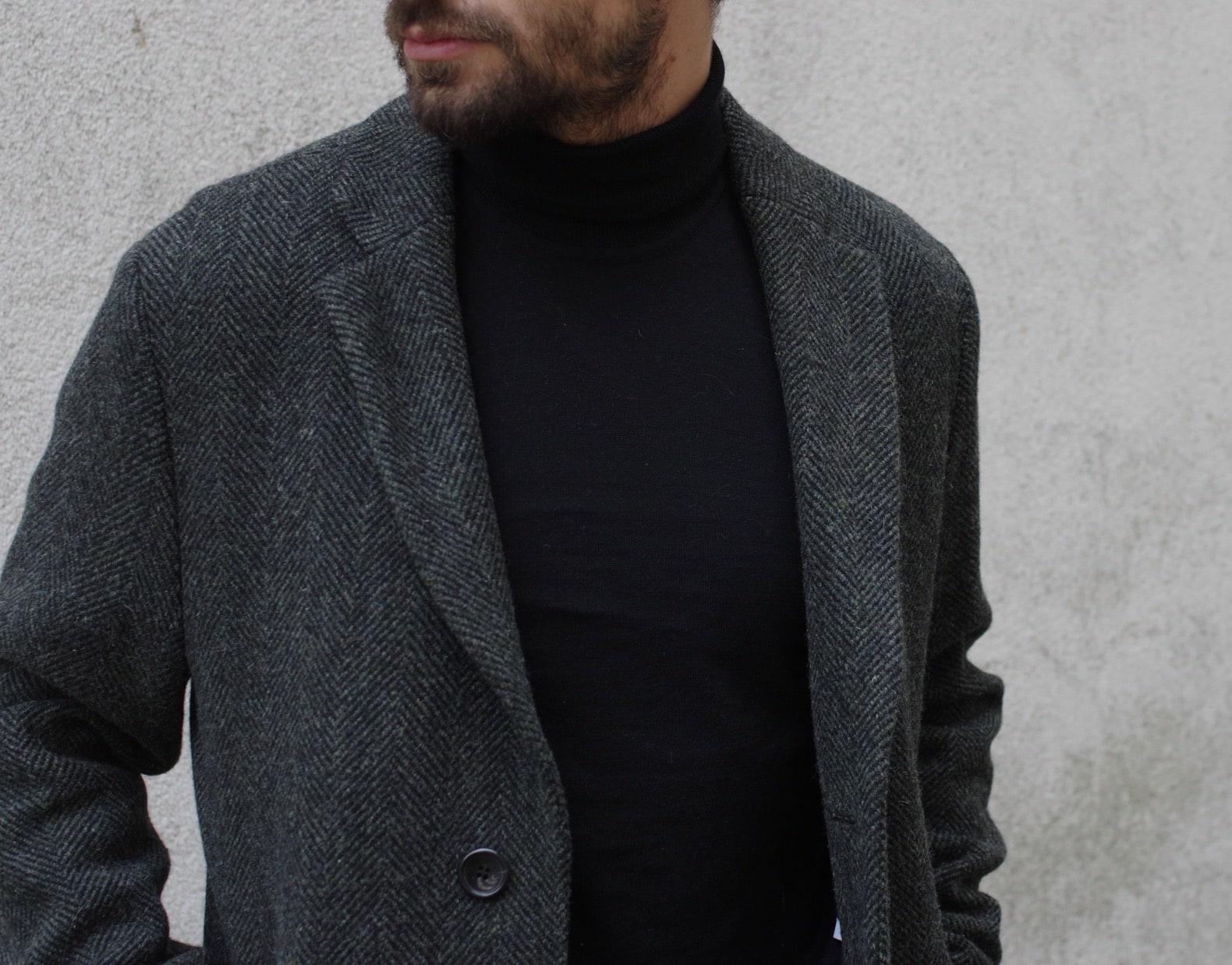 manteau long en laine stylé pour homme drapeau noir