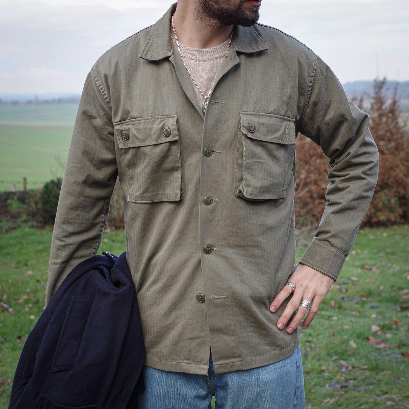 chemise militaire en coton HBT olive marque Arashi denim modèle CISO
