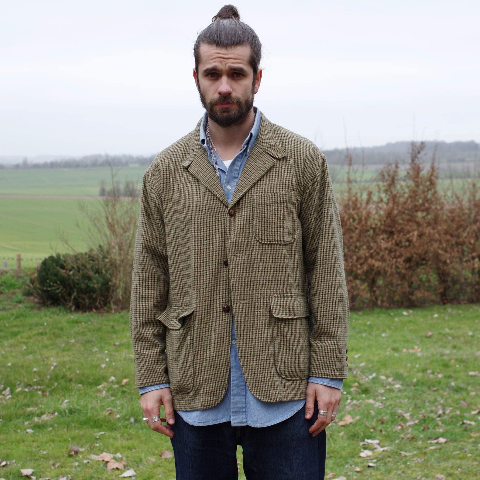 Engineered Garments loiter jacket – Tan Green Wool-Gun Club Check – FW19