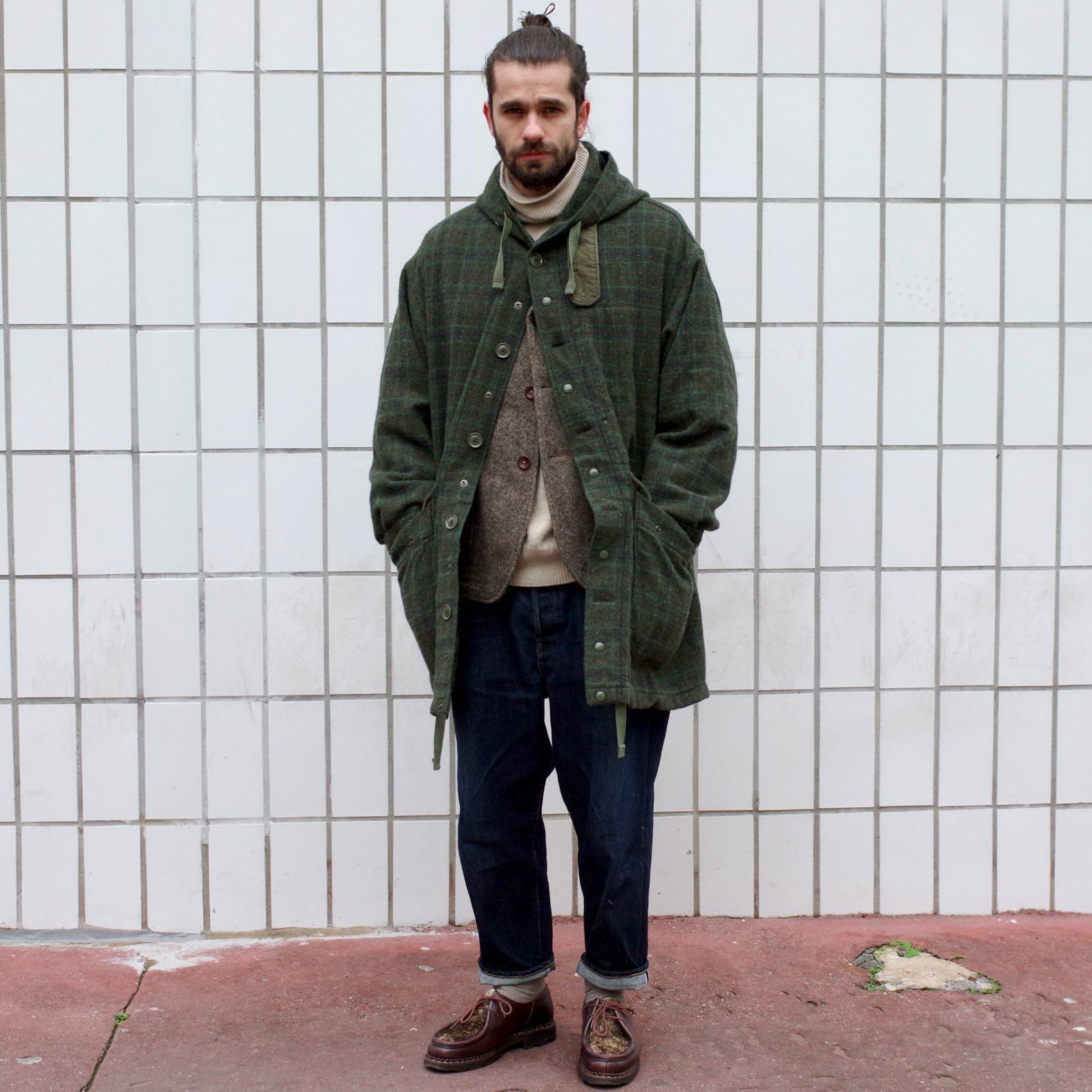 engineered garments parka madison for the bureau belfast - paraboot michael jans tapered