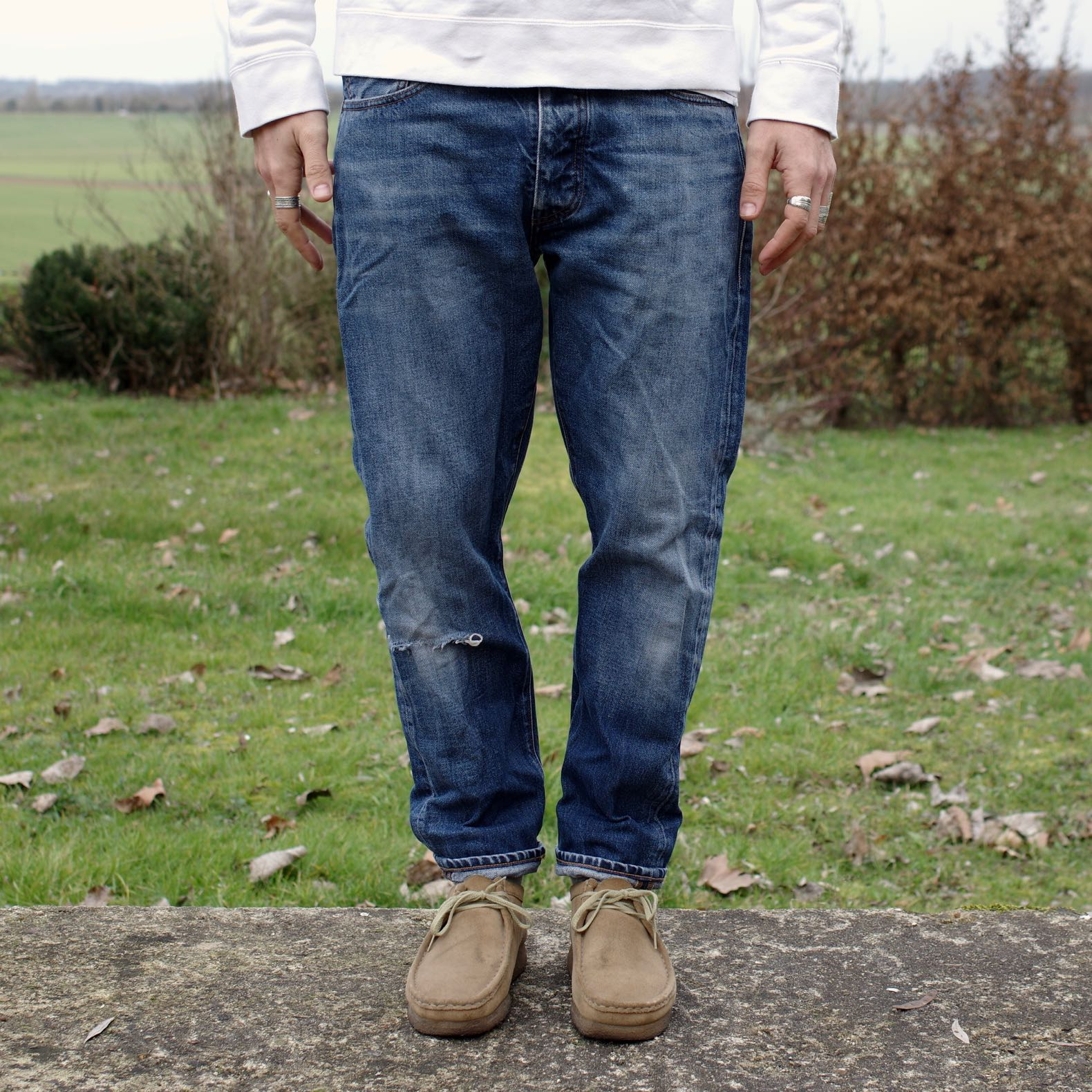 jean coupe tapered avec place aux cuisses