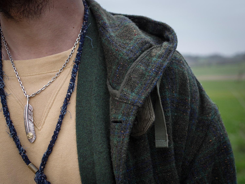 bijoux pour homme en argent et tissu recyclé