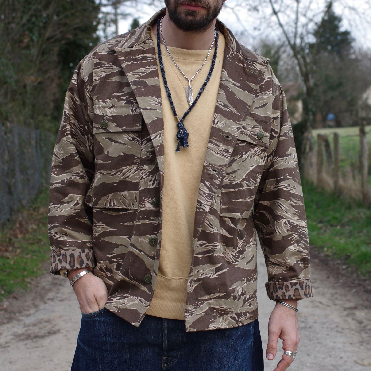 surchemise chemise militaire P43 de la marque Arashi Denim faite dans un deadstock d'une matière japonaise