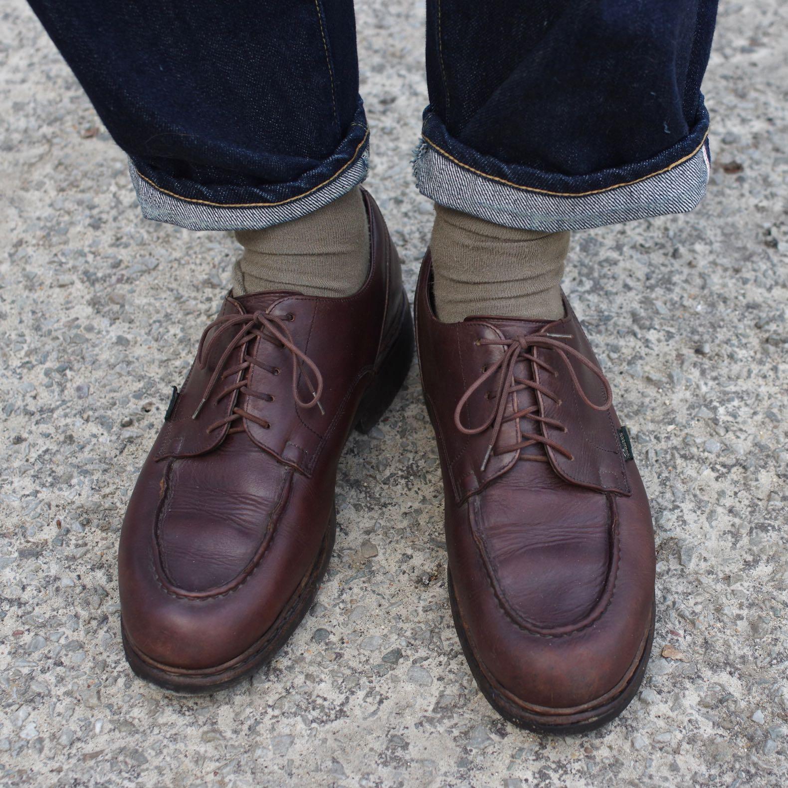 paire de chaussures en cuir marron made in france de la marque Paraboot modèle chambord