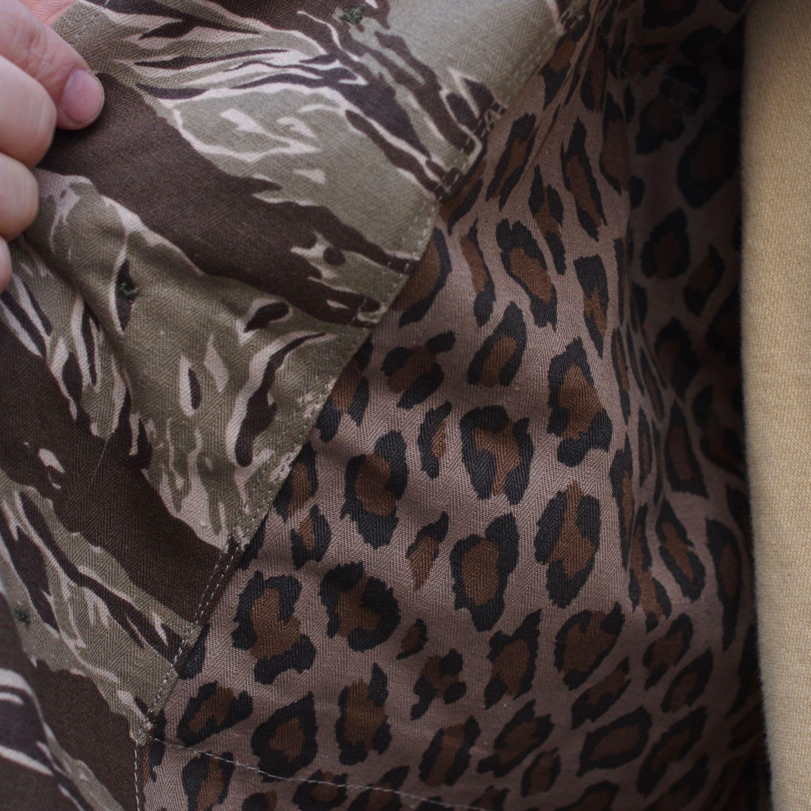 tissu militaire e coton HBt imprimé motif léopard et camo tiger stripe arashi denim