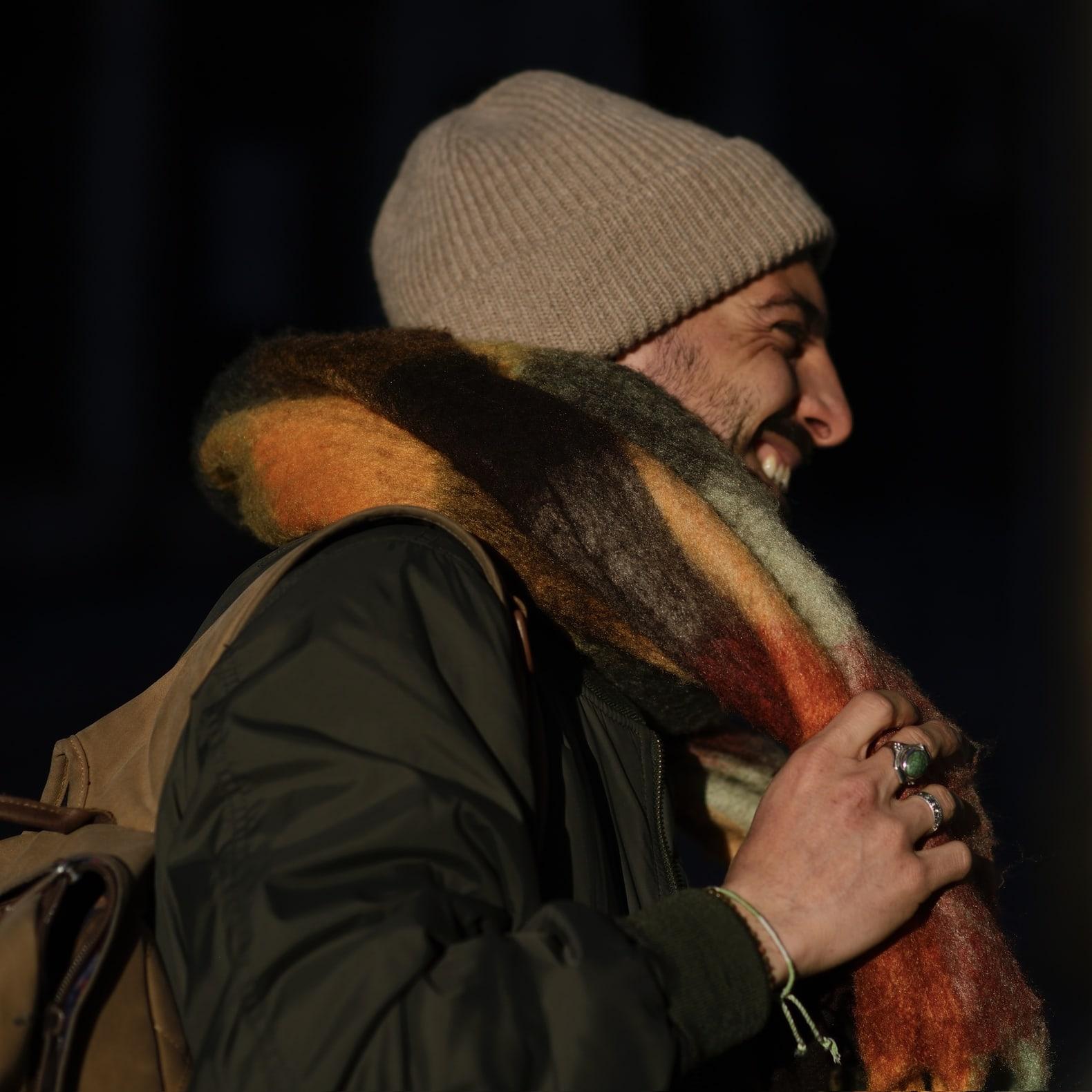 echarpe colorée laine homme